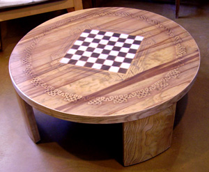 Celtic knotwork chess table