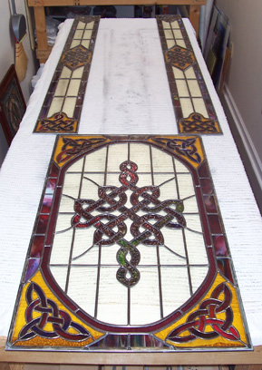 Celtic stained glass door panel