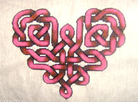 Celtic knot heart counted cross stitch pattern