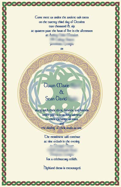 Celtic knot border wedding invitation