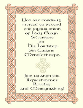 Renaissance wedding invitation with Celtic knots